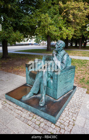 Jan Karski Monument in city of Warsaw in Poland, emissary and courier of the Polish Underground State during World War II, reporting German Nazi atroc - Stock Photo
