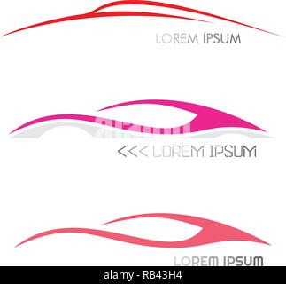 Three variants of modern car logo. Moving car images. Vector icons isolated on a white background. - Stock Photo