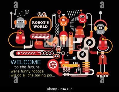 Robot's World. Manufacturing robots vector illustration isolated on a black background.  Welcome to the future, were funny robots will do all the bori - Stock Photo