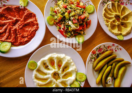 Syrian Arab food. Meat balls, hummus, meze salads. Syria, Middle East - Stock Photo