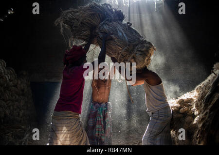 Narayanganj, Bangladesh. 6th Jan 2019. Jute mill workers seen helping each other while working. Bangladesh is known for its Jute. In recent years Bangladesh and many other countries considered jute as a new possibility to replace many daily goods, notably making bags out of jute to replace plastics Credit: SOPA Images Limited/Alamy Live News - Stock Photo
