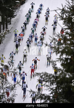 Morave, Czech Republic. 06th Jan, 2019. The men's 20 km mass start race within the OPA cross-country skiing European Cup 2019 in Nove Mesto na Morave, Czech Republic, on January 6, 2019. (CTK Photo/Lubos Pavlicek) Credit: CTK/Alamy Live News - Stock Photo