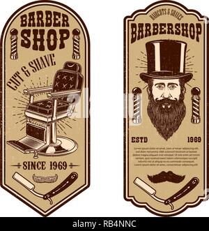 Vector Illustration Barber Shop Flyer Template Chair And Tools On Grunge Background Design Element For