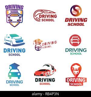 Set of vector logos driving school, car - Stock Photo