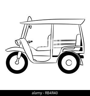 Tuk tuk transportation in Thailand hand drawn for coloring book, Vector Illustration - Stock Photo