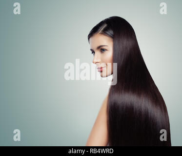 Healthy woman with straight hair, fashion portrait. Glamorous girl with perfect hairstyle - Stock Photo