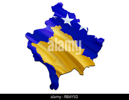 Flag Map of Kosovo. 3D rendering Kosovo map and flag. The national symbol of Kosovo. National waving flag colorful concept 3D pattern background downl - Stock Photo