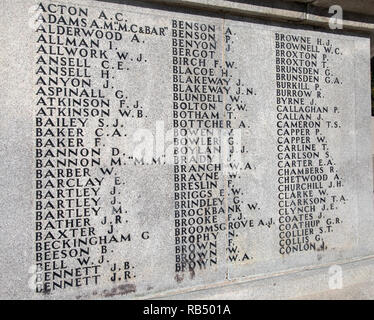 Names listed on the war memorial to mark Lever Brothers employees lost in the First World War and added to after the Second World War at Port Sunlight - Stock Photo