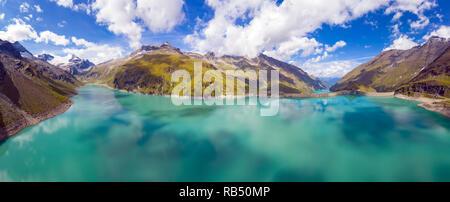 Kaprun, Austria - September 6, 2018. Overlooking the high mountain reservoir Mooserboden Stausee in Kaprun. - Stock Photo