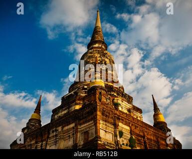 A Wat Yai Chai Mongkhon in Ayutthaya, Thailand. - Stock Photo