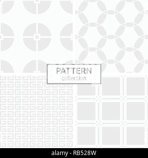 Set of four abstract geometric seamless chinese patterns. Stylish backgrounds. White and gray geometric textures. Circles divided into four parts. - Stock Photo