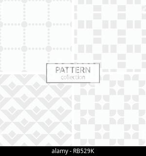 Set of four abstract geometric seamless patterns. Modern stylish backgrounds. White and gray geometric textures. Dotted squares, rounded tiles. - Stock Photo