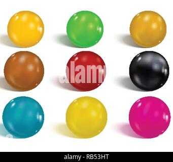 Collection of colorful glossy spheres isolated on white. Realist - Stock Photo