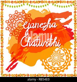 Creative Greeting Card,Poster Or Banner For Hindu Festival Ganesh Chaturthi Celebration Or Shubh Deepawali. Vector Illustration Design - Stock Photo