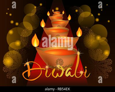 Illustration of burning diya on happy Diwali. Holiday background for light festival of India. Vector illustration - Stock Photo