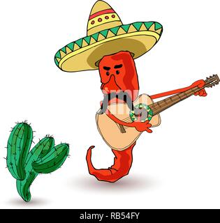 A funny pepper in a sombrero with a guitar and cactus. Mexican traditions. Vector illustration - Stock Photo