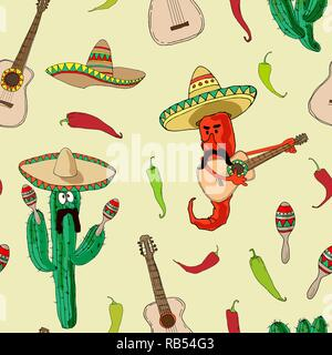 A seamless pattern with funny peppers and cactus playing on traditional Mexican maracas and guitar. Vector illustration - Stock Photo