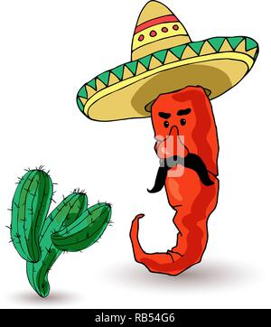 A funny pepper in a sombrero and cactus. Mexican traditions. Vector illustration - Stock Photo