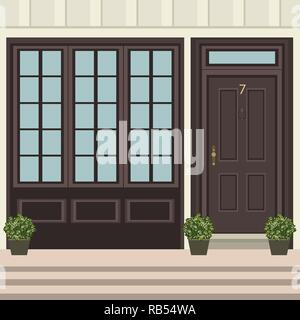 House door front with doorstep and  steps, window, flowers in pot, building entry facade, exterior entrance design illustration vector in flat style - Stock Photo
