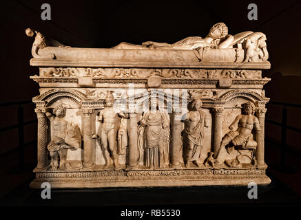 Italy Basilicata Melfi Castle National archeologic museum sarcophagus of Rapolla - Stock Photo