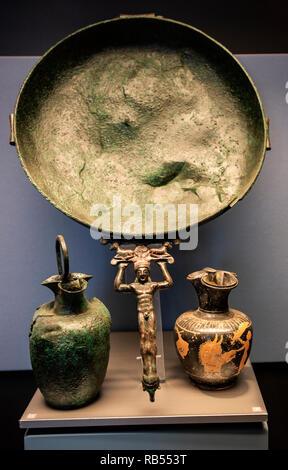 Italy Basilicata Melfi Castle National archeologic museum tableware, grave 768, V sec.a.c., - Stock Photo
