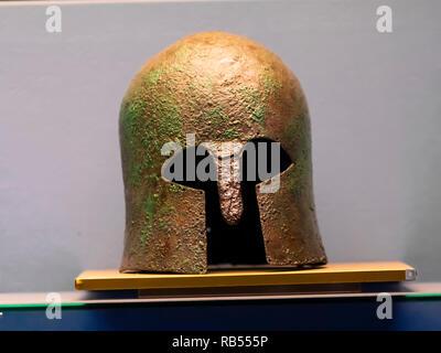 Italy Basilicata Melfi Castle National archeologic museum bronze Corinthian helmet, - Stock Photo