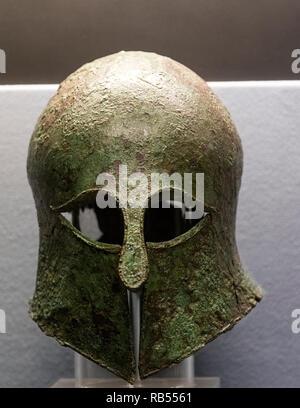 Italy Basilicata Melfi Castle National archeologic museum,bronze Corinthian helmet, - Stock Photo