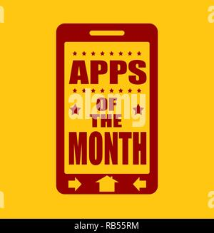 Apps of the month text on phone screen.  - Stock Photo