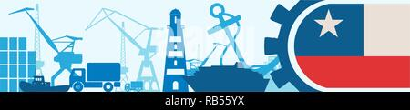 Cargo port relative icons set. Chile flag in gear. - Stock Photo