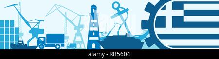 Cargo port relative icons set. Greece flag in gear. - Stock Photo