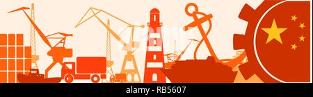 Cargo port relative icons set. China flag in gear. - Stock Photo