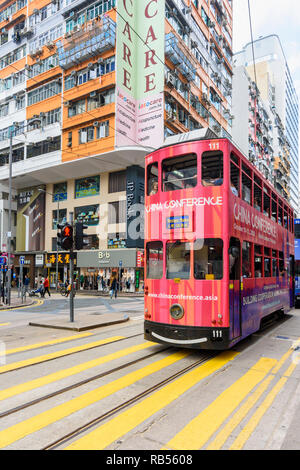 Tram on Johnston Rd, Wan Chai, Hong Kong - Stock Photo