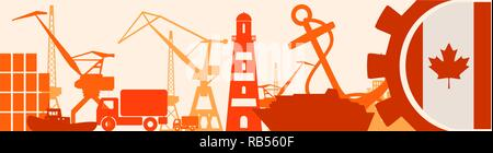 Cargo port relative icons set. Canada flag in gear. - Stock Photo