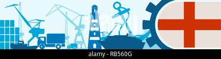 Cargo port relative icons set. Genoa flag in gear. - Stock Photo