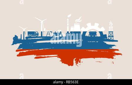 Energy and Power icons set. Brush stroke - Stock Photo