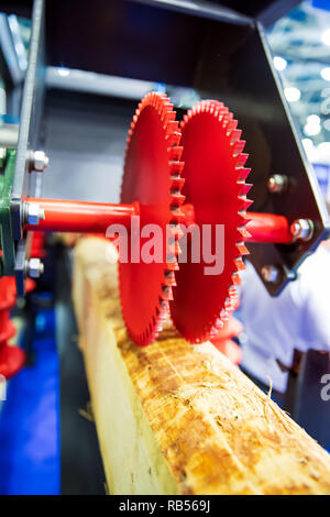 Woodworking wood processing machine, modern technology in the industry. - Stock Photo