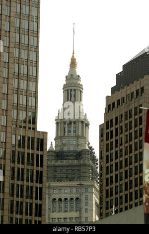 Buildings in downtown Cleveland, Ohio, with the top of the Tower City Center in the middle - Stock Photo