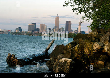 Downtown Cleveland, Ohio seen from the shore of Lake Erie - Stock Photo