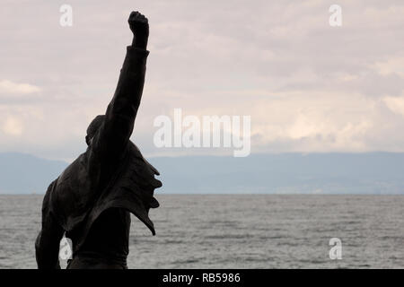 The Freddie Mercury Statue (by Irena Sedlecká) - Montreux - Lake Geneva - Switzerland - Stock Photo