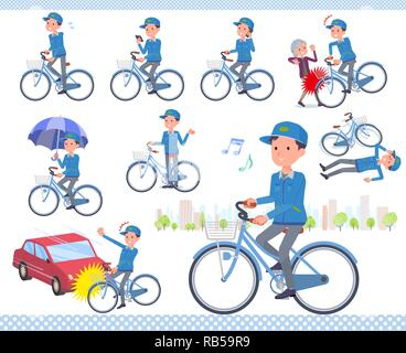 A set of Delivery man riding a city cycle.There are actions on manners and troubles.It's vector art so it's easy to edit. - Stock Photo
