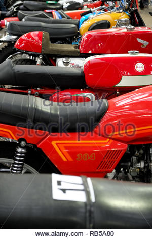 Classic motorcycles on display at Newark Showground 2019. - Stock Photo