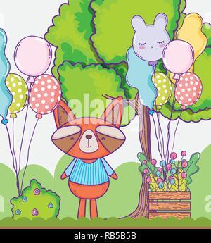 cute raccoon happy birthday with balloons - Stock Photo