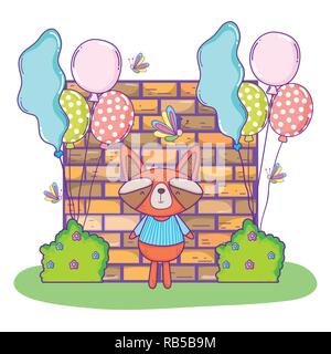 cute raccoon happy birthday with balloons and bushes - Stock Photo