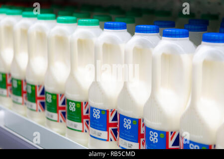 Plastic bottles of milk on sale in a supermarket shop in the UK. - Stock Photo