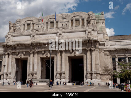 Exterior view of Central Railway Station. Milano Centrale, Milan, Italy. - Stock Photo