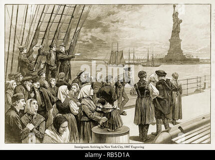 Immigrants Arriving in New York City, 1887 - Stock Photo
