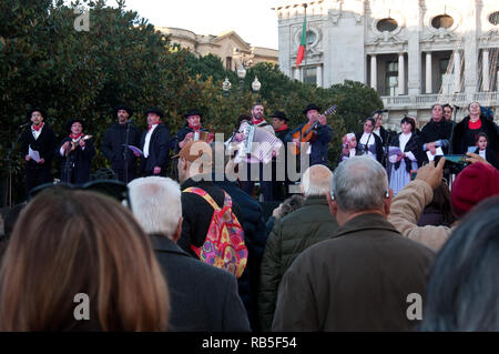 Portuguese folklore group singing As Janeiras in Porto, Portugal - Stock Photo