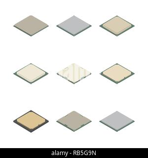 Set of processors of different shapes isolated on white background. Elements design of electronic components. Flat 3D isometric style, vector illustra - Stock Photo