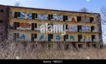 Abandoned graffiti covered buildings is all that is left of a Soviet army base near Szentkirályszabadja, Hungary. - Stock Photo
