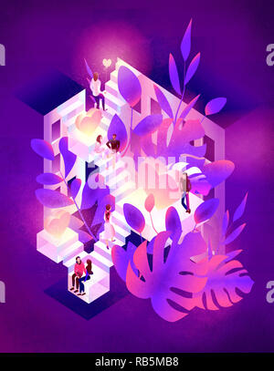 saint valentine's day. love. relationship isometric illustration - Stock Photo